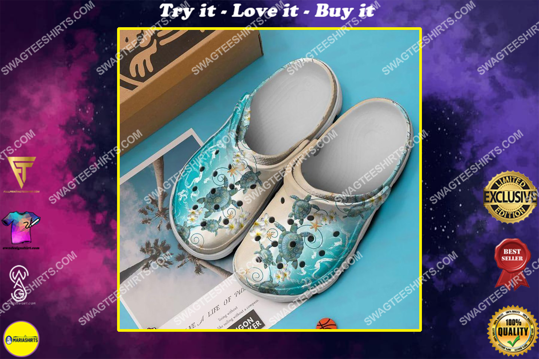sea turtle and ocean all over printed crocs