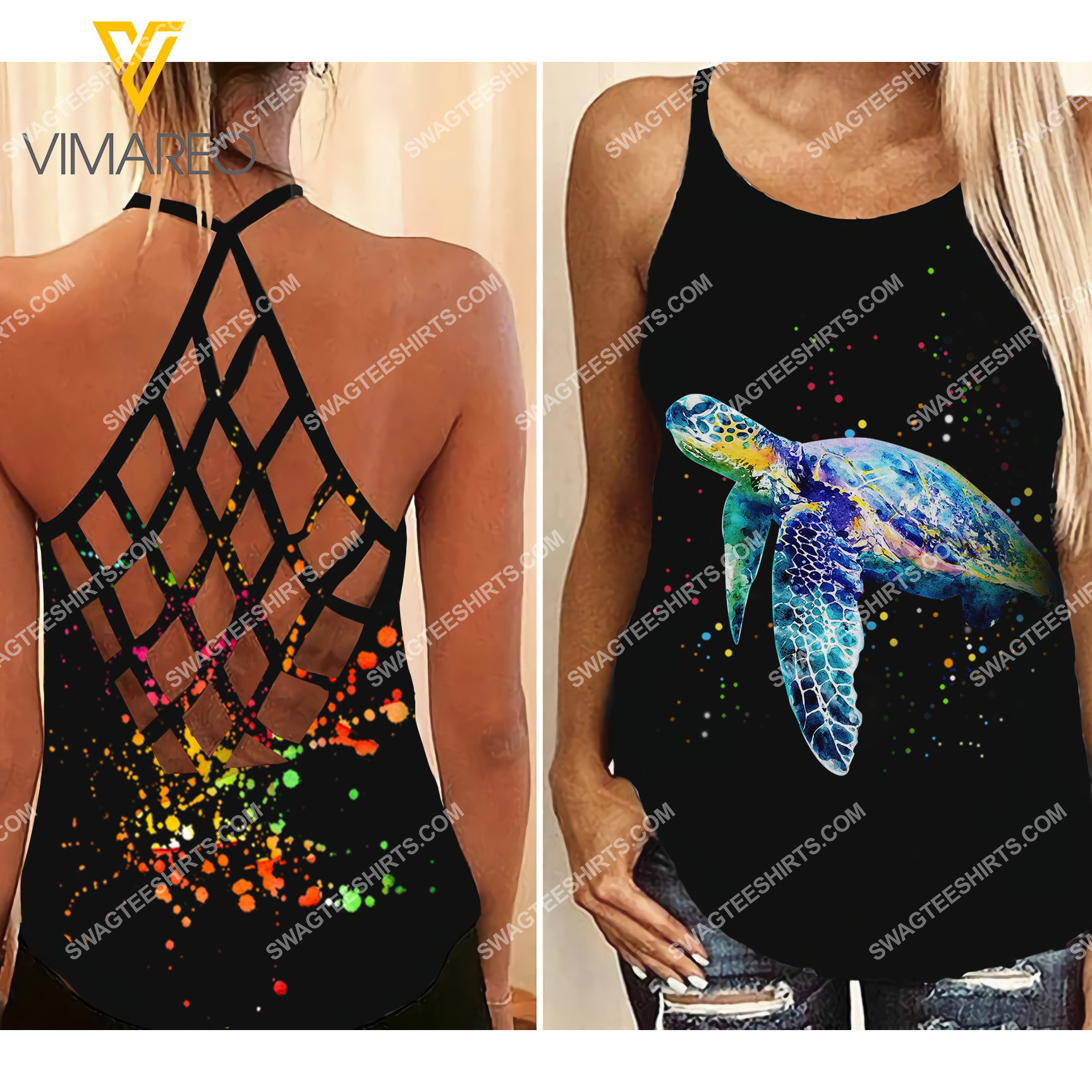 sea turtle colorful all over printed strappy back tank top 2