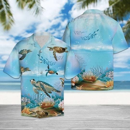 sea turtle in the ocean all over printed hawaiian shirt 3