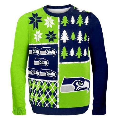 seattle seahawks busy block ugly christmas sweater 1