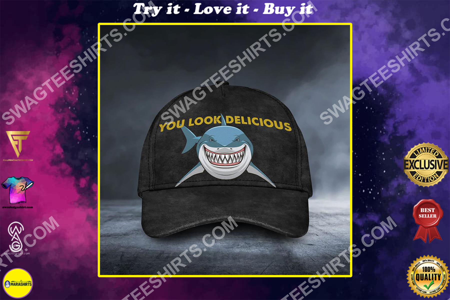 shark you should delicious all over printed classic cap