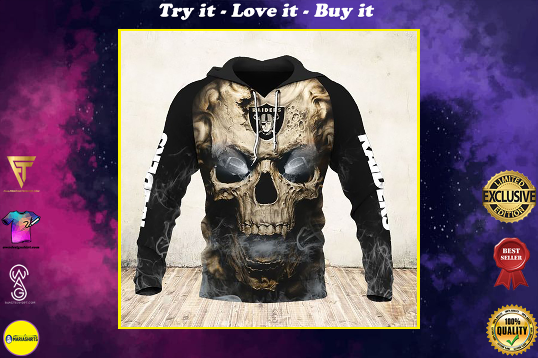 skull and las vegas raiders football team full over printed shirt