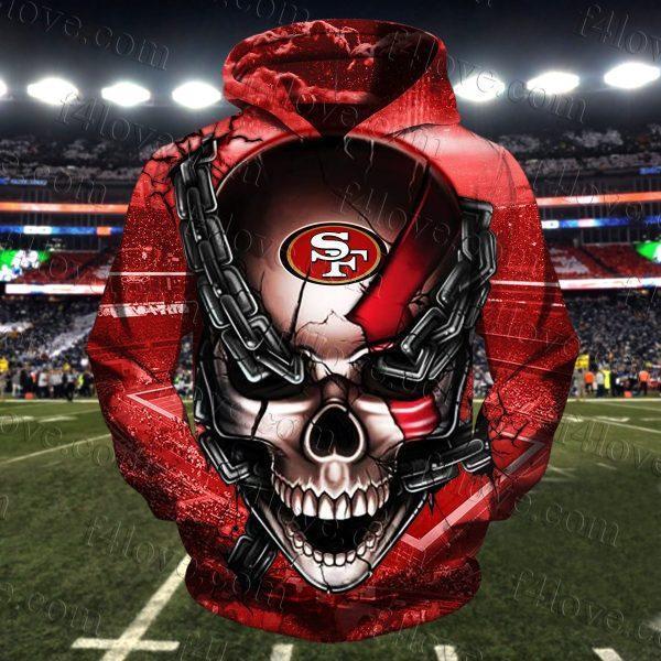 skull chain san francisco 49ers football team full over printed hoodie 1