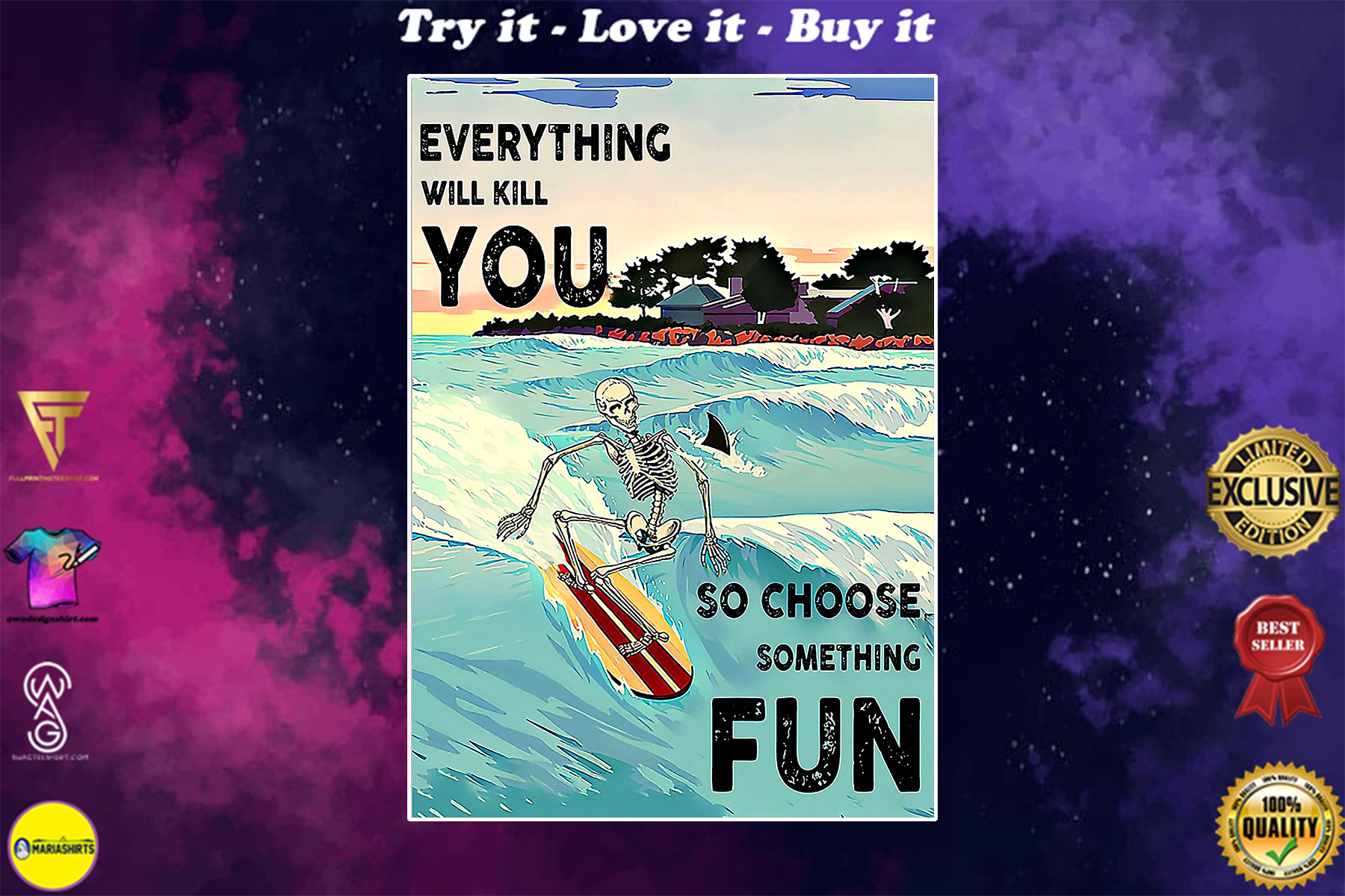 skull everything will kill you so choose something fun surfing vintage poster