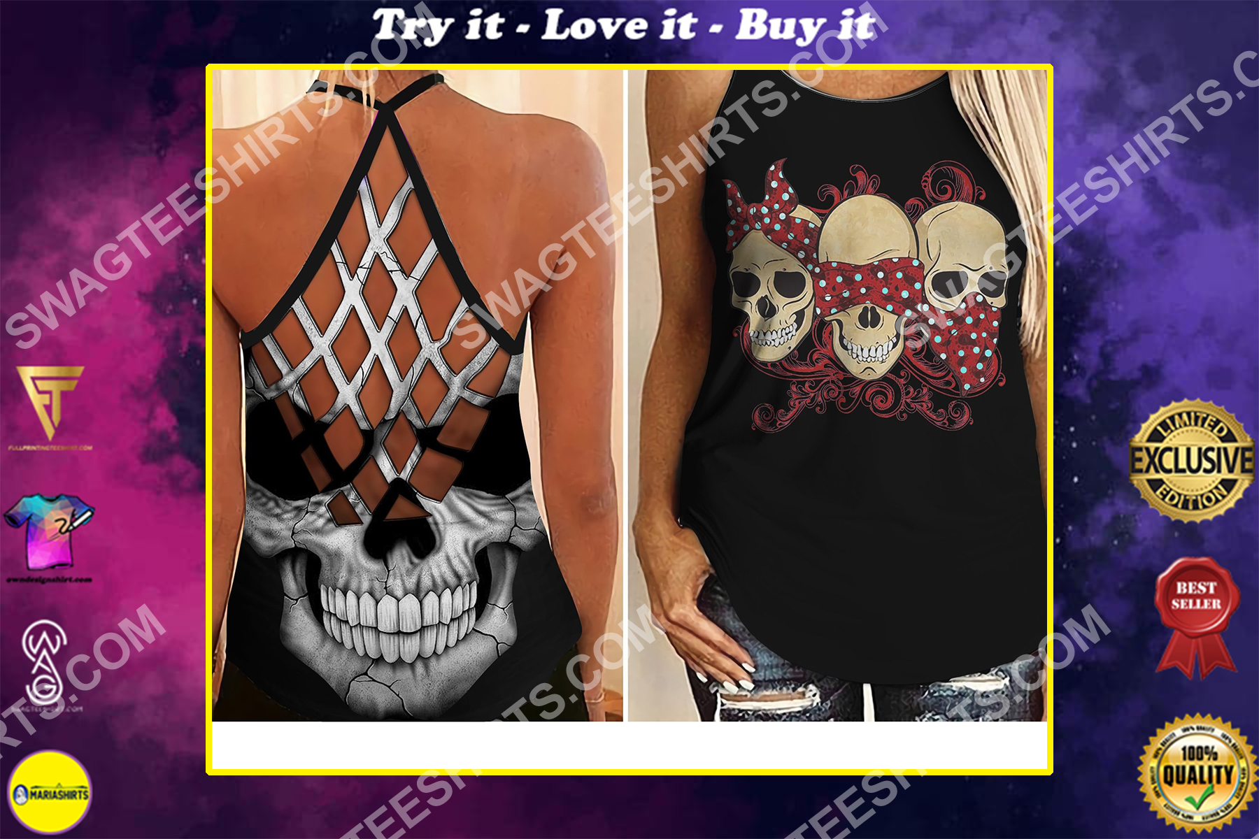 skull evil speak no see no hear no all over printed strappy back tank top