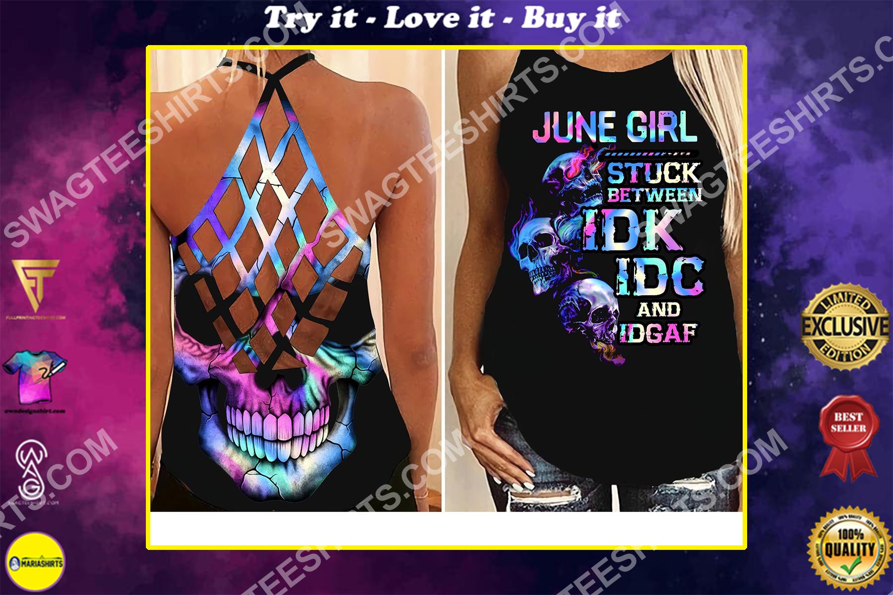 skull june girl birthday gift all over printed strappy back tank top