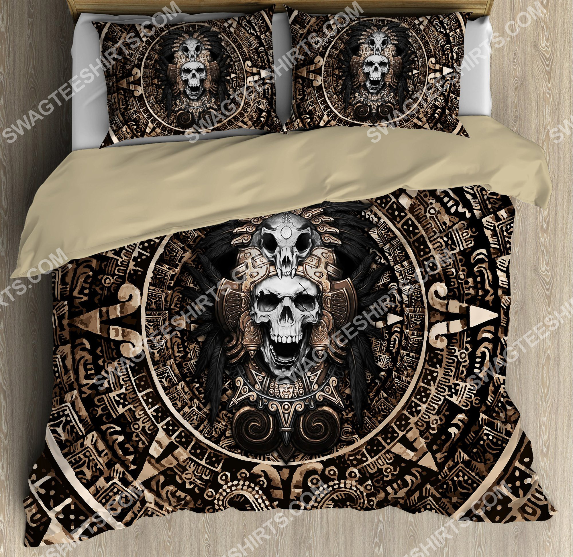 skull the aztec warrior mexican all over printed bedding set 2(1)