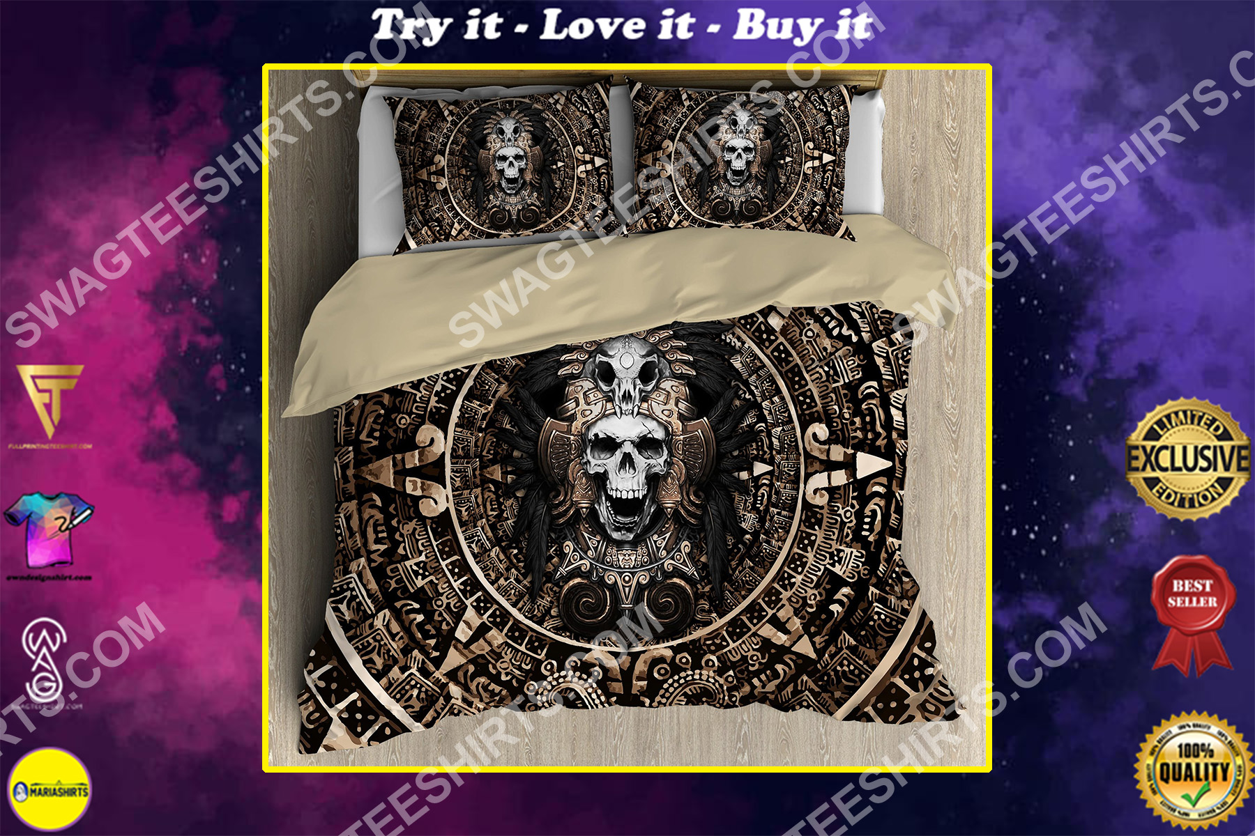 skull the aztec warrior mexican all over printed bedding set