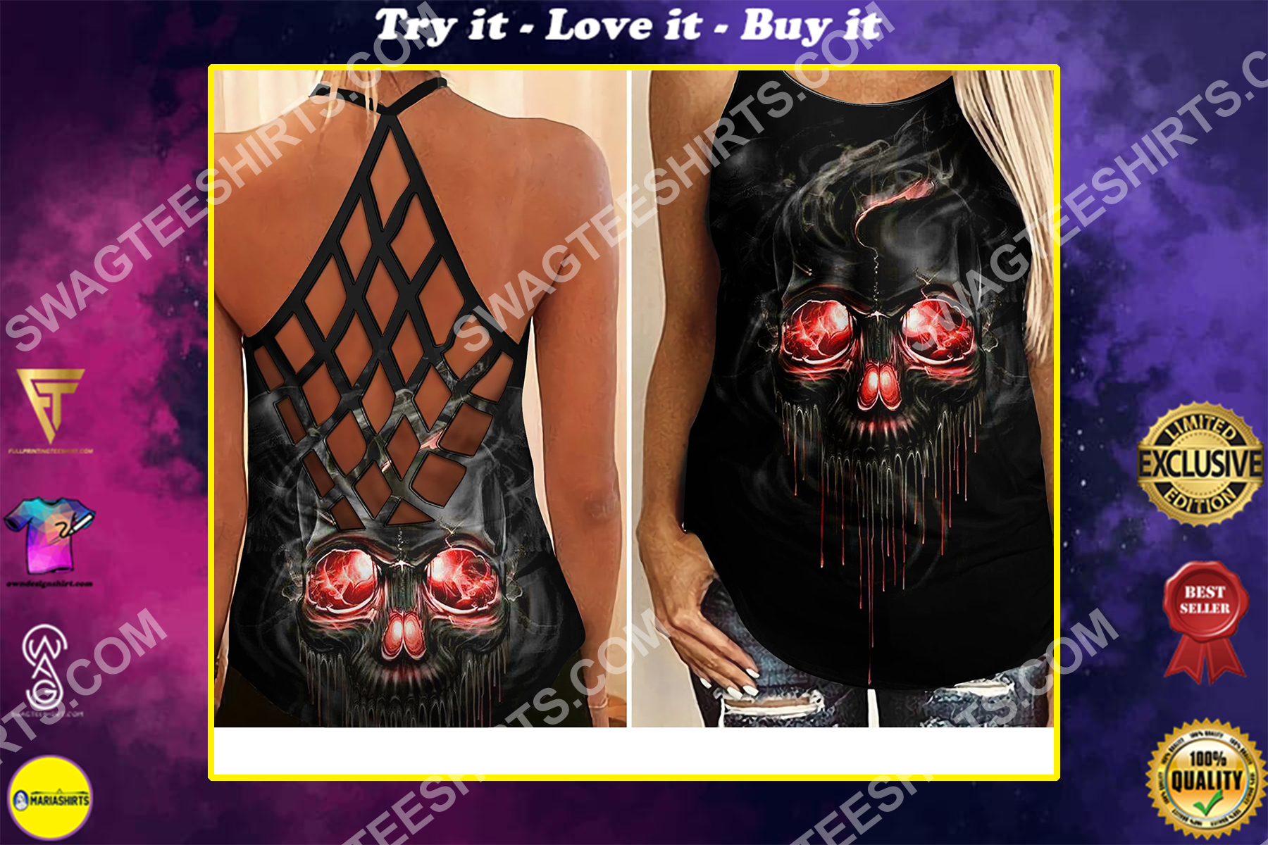 skull with red eyes all over printed strappy back tank top