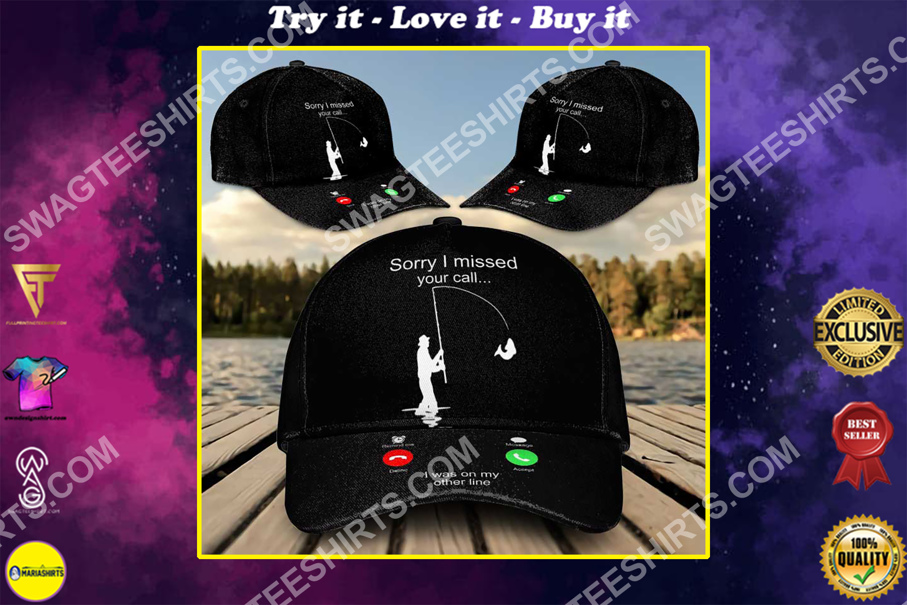 sorry i missed your call i was on the other line fishing all over printed classic cap