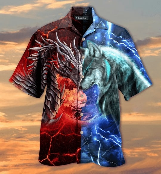 spirit of a dragon heart of a wolf all over printed hawaiian shirt 4
