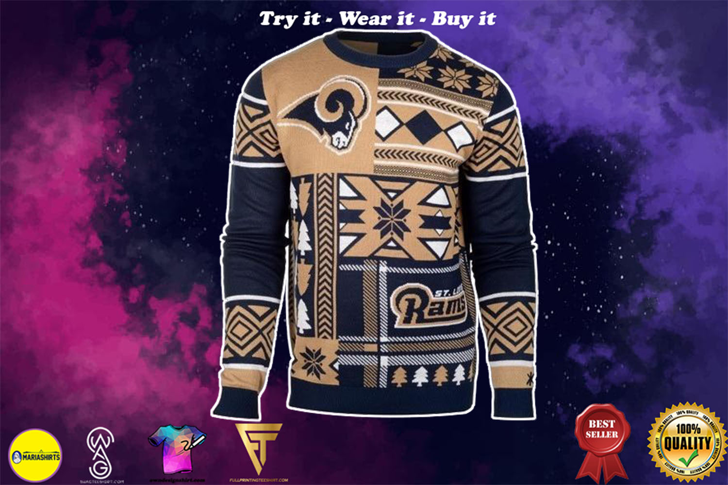 st louis rams patches ugly christmas sweater