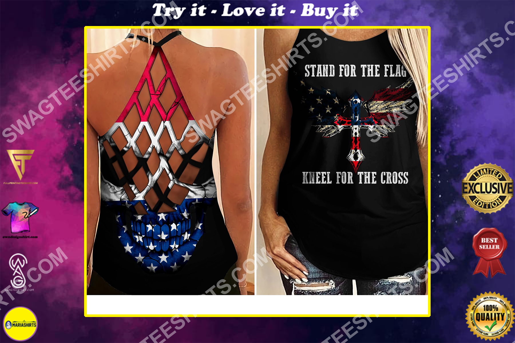 stand for flag kneel for cross all over printed strappy back tank top