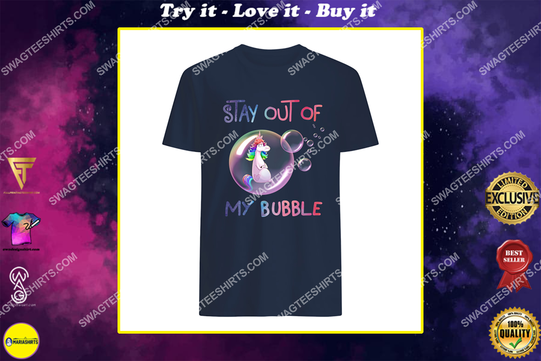 stay out of my bubble unicorn social distance shirt