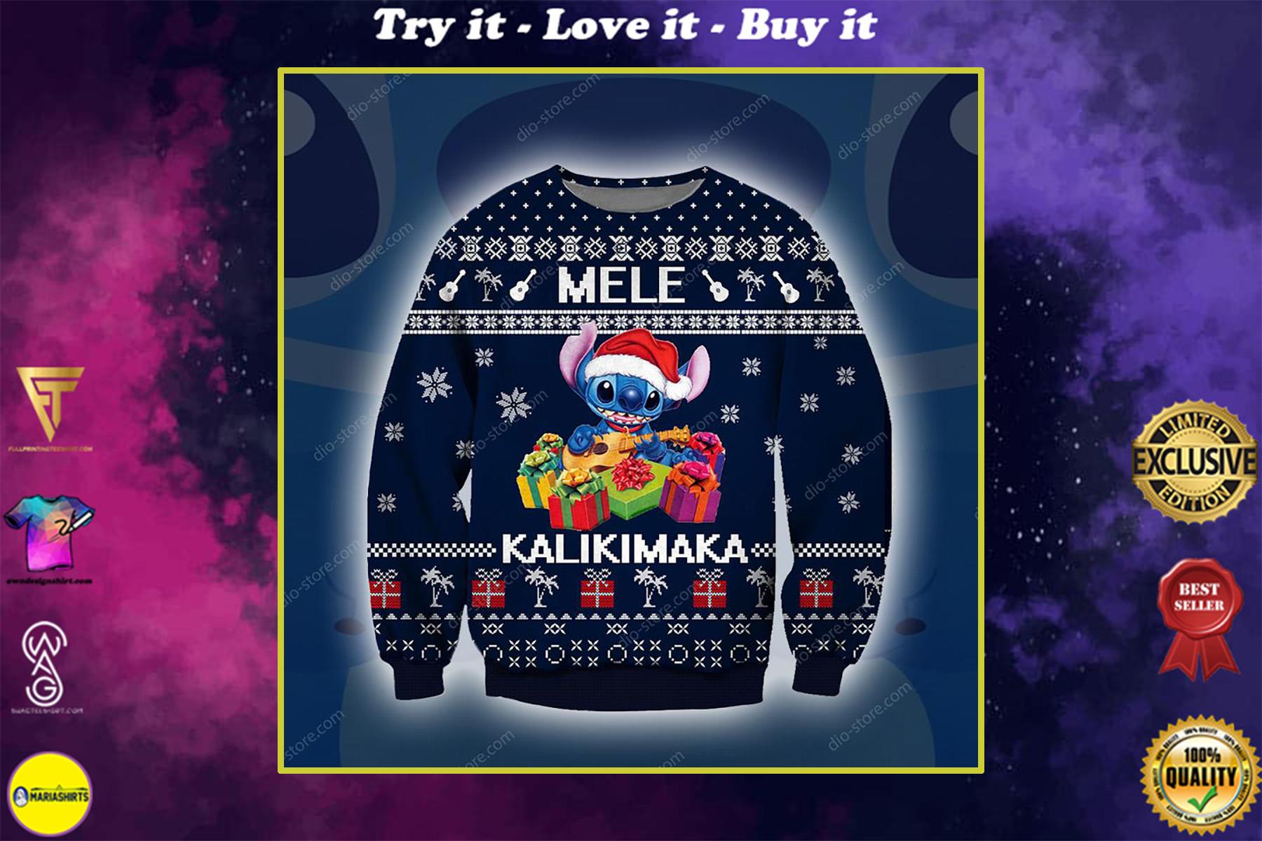 stitch mele kalikimaka all over printed ugly christmas sweater