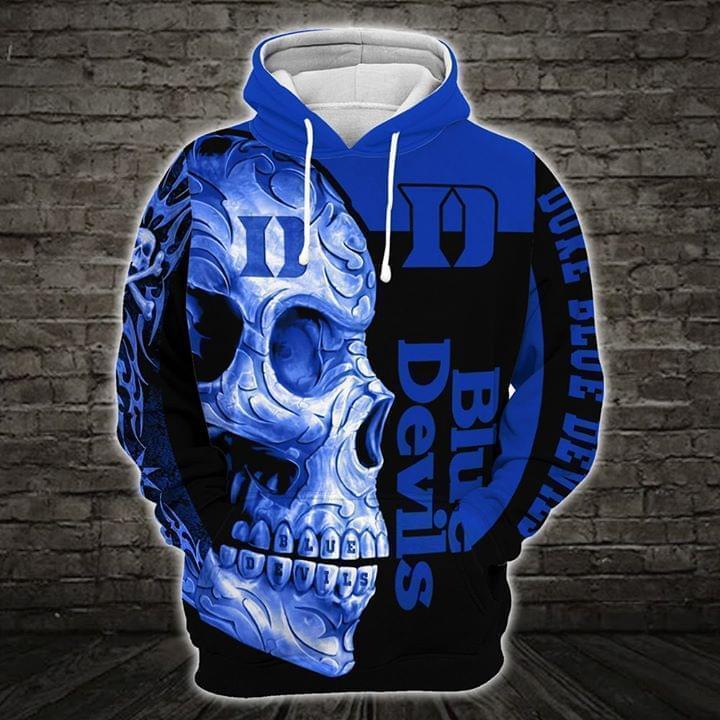 sugar skull duke blue devils mens basketball full over printed hoodie 1