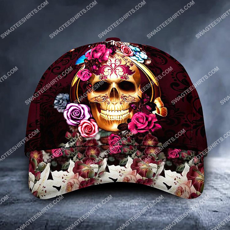 sugar skull girl and roses all over printed classic cap 3 - Copy (2)