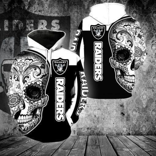 sugar skull oakland raiders football team full over printed hoodie 1
