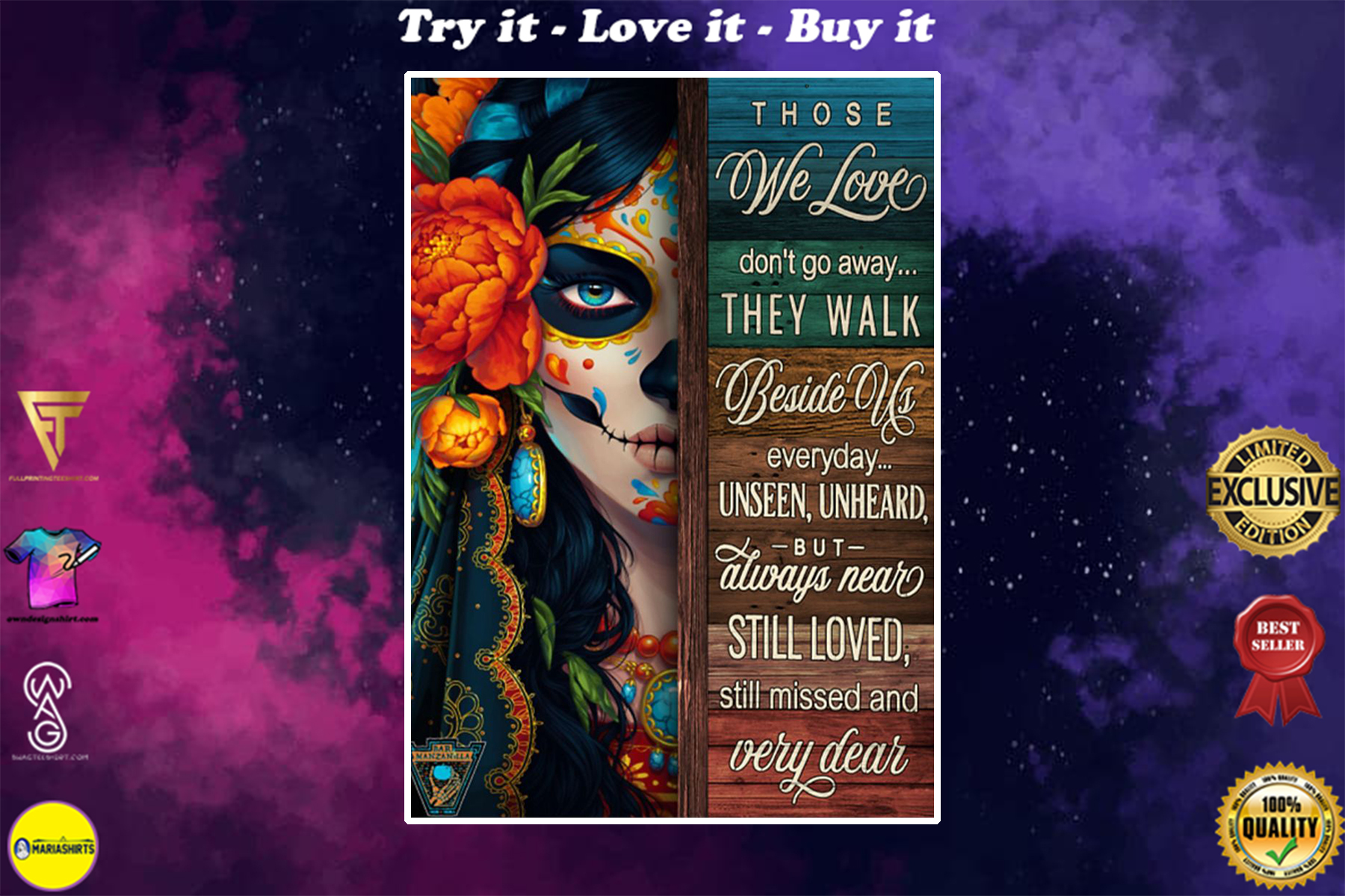 sugar skull those we love dont go away the walk beside us everyday poster