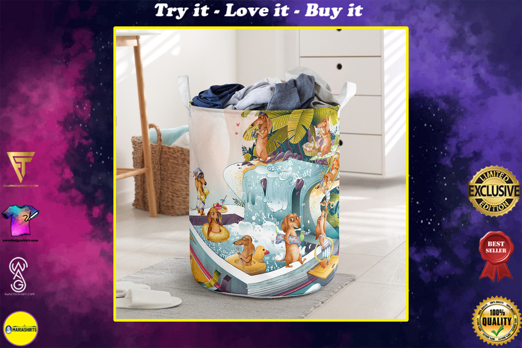 summer dachshund all over printed laundry basket