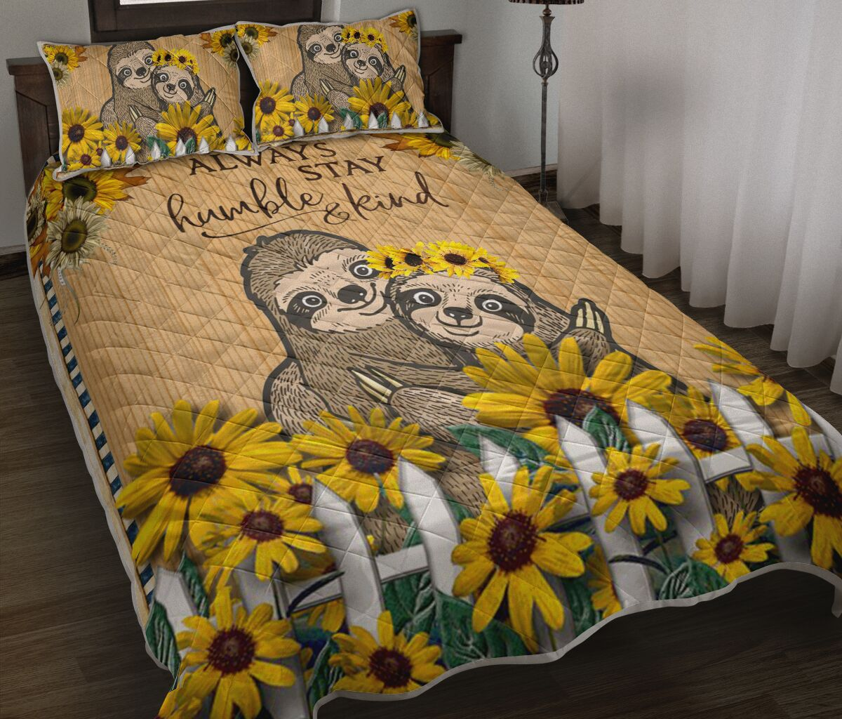 sunflower and sloth always stay humble and kind full printing bedding set 2