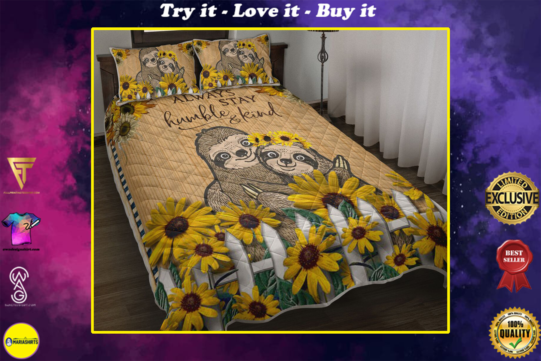 sunflower and sloth always stay humble and kind full printing bedding set
