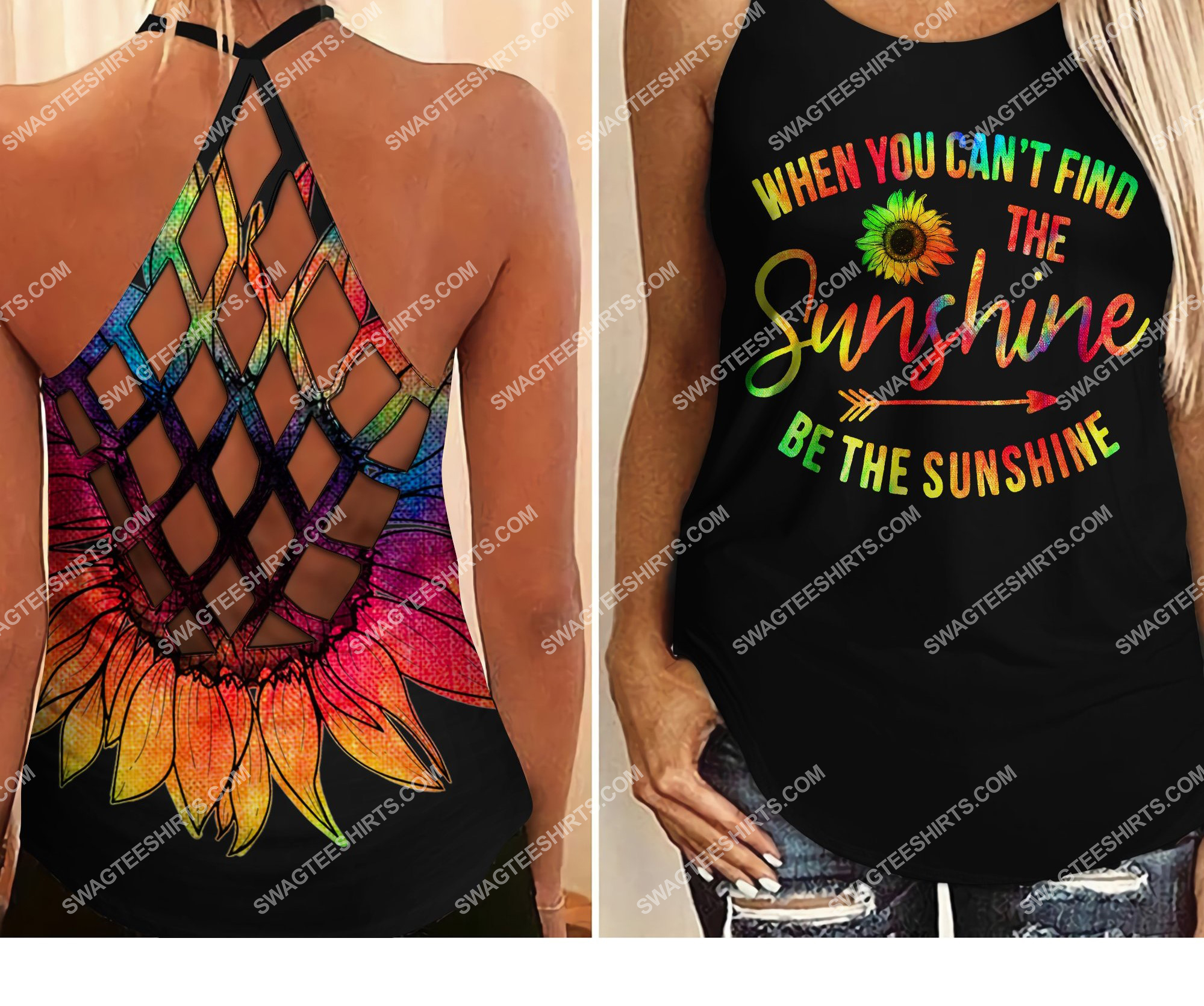 sunflower be the sunshine all over printed strappy back tank top 2 - Copy (2)