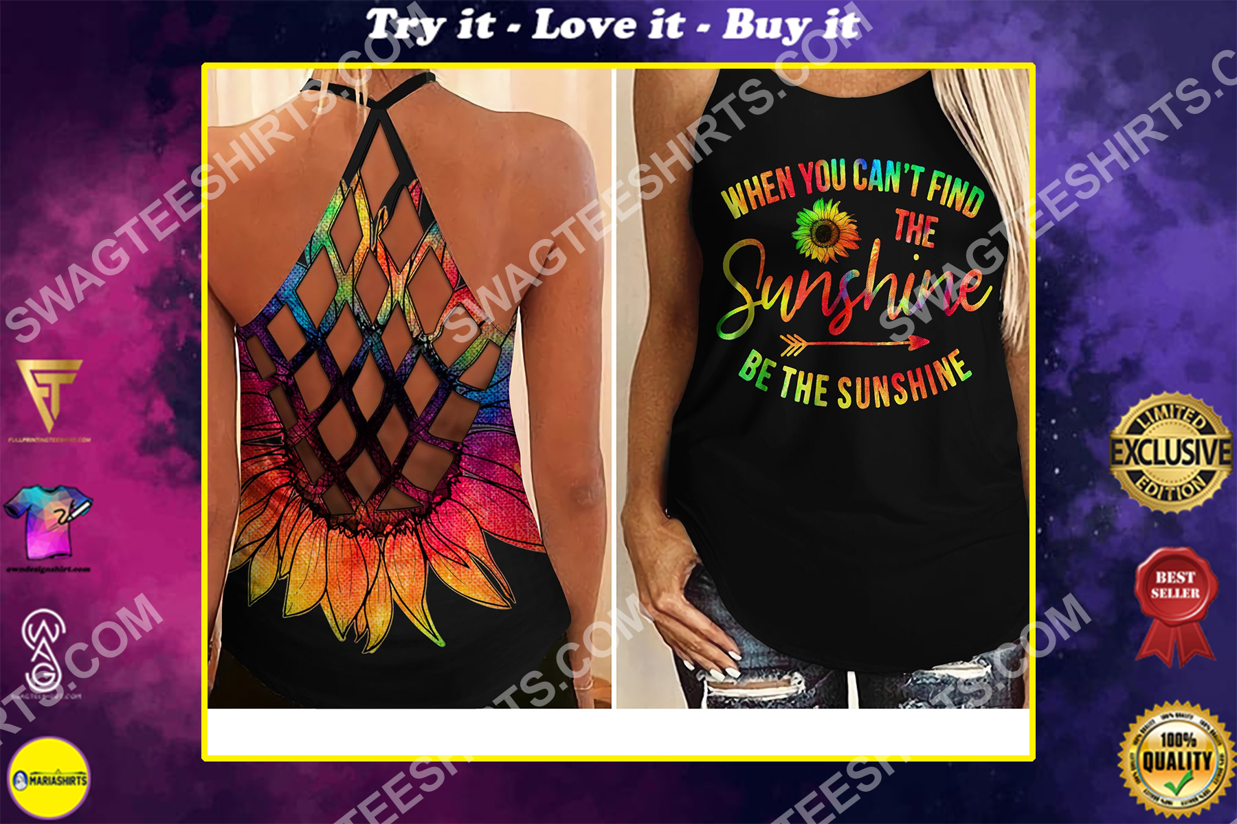 sunflower be the sunshine all over printed strappy back tank top