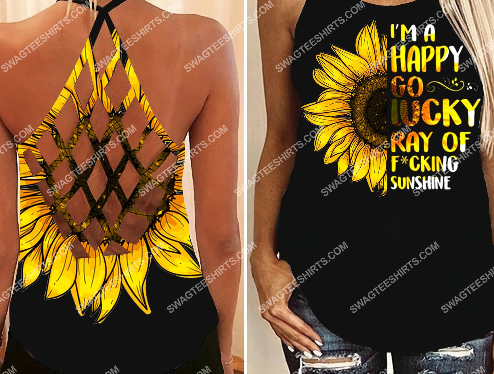 sunflower girl all over printed strappy back tank top 2 - Copy (2)
