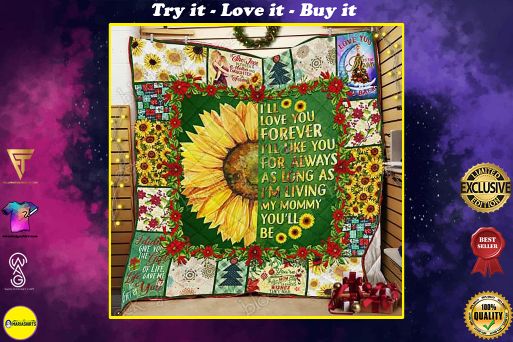 sunflower i will love you forever my mommy quilt