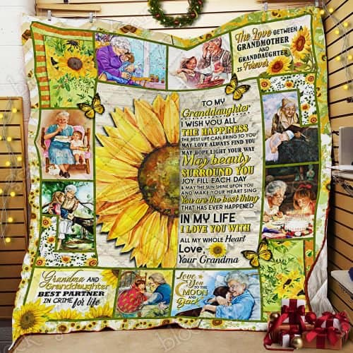 sunflower to my granddaughter i wish you all the happiness love your grandma quilt 2