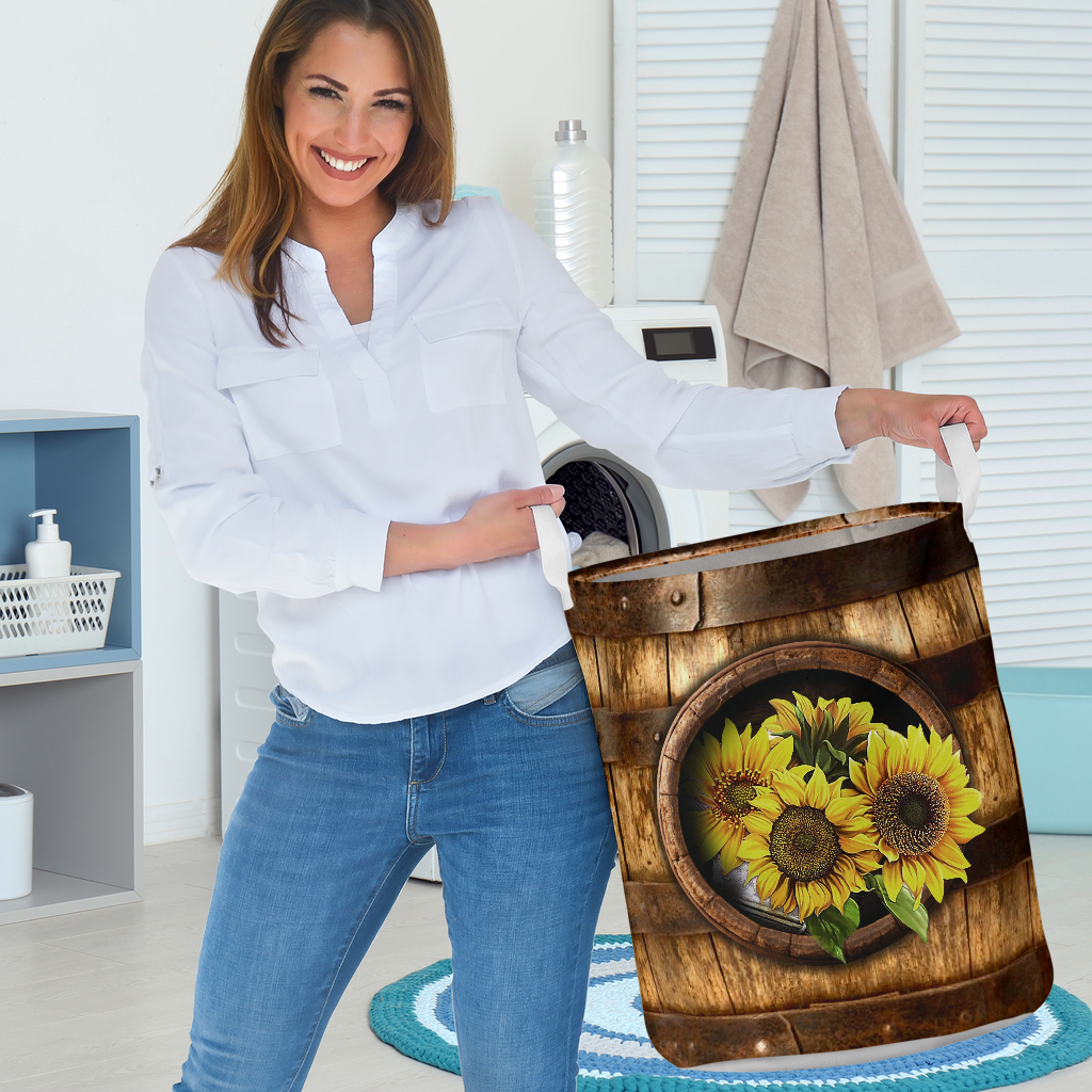 sunflower wood pattern all over printed laundry basket 2