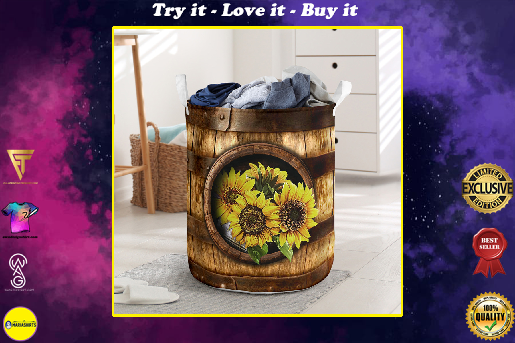 sunflower wood pattern all over printed laundry basket