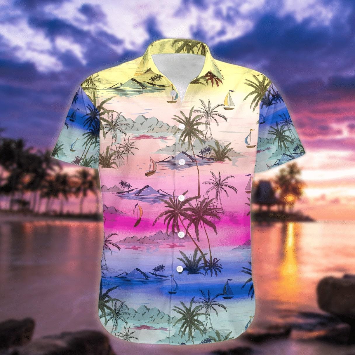 sunset on the beach all over printed hawaiian shirt 2