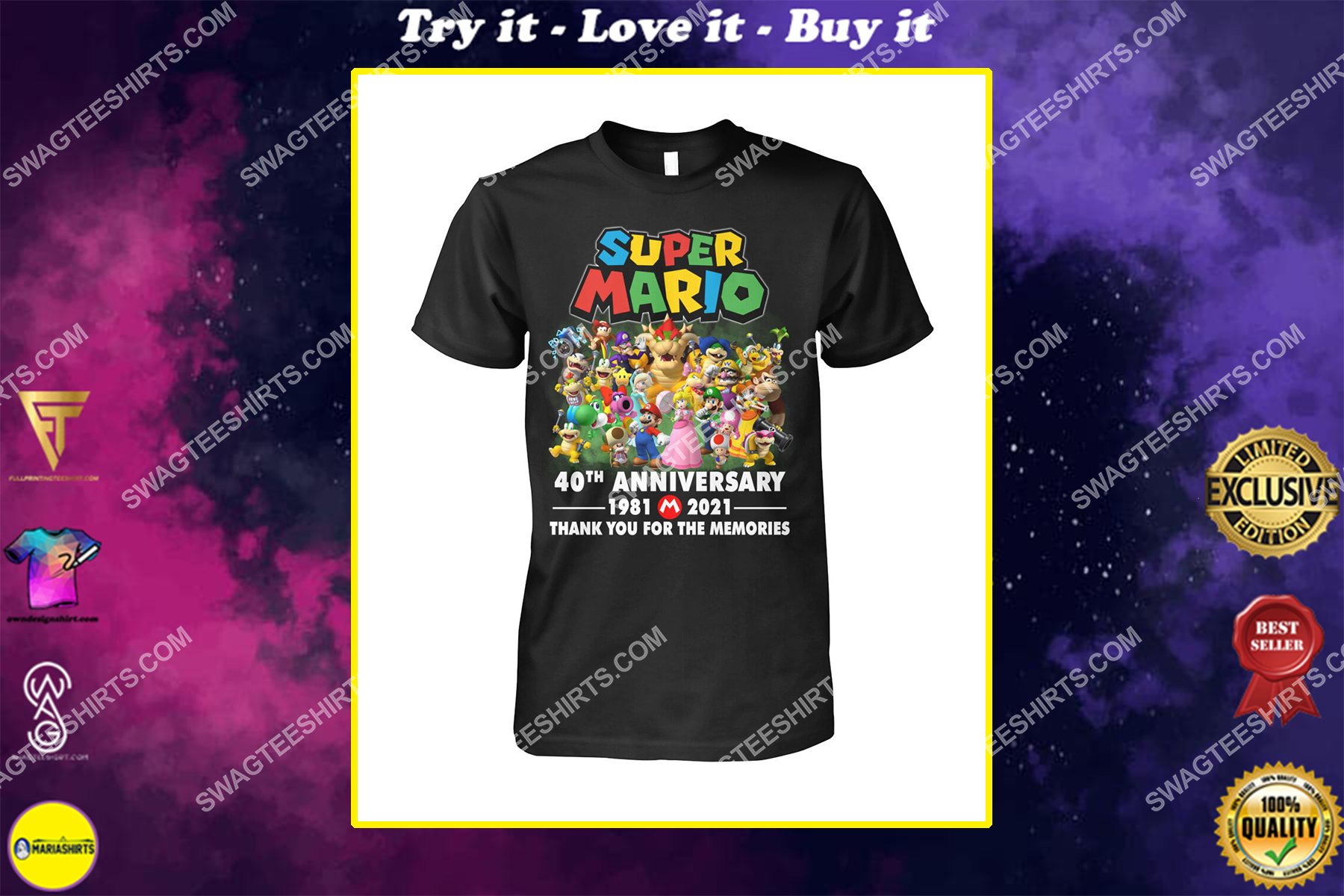 super mario 40th anniversary thank you for the memories shirt