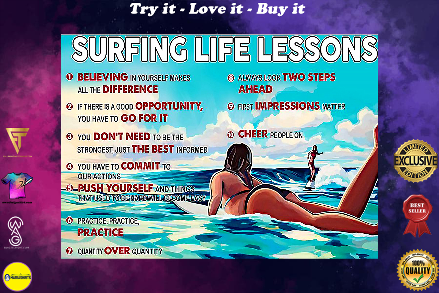 surfing life lessons vintage poster