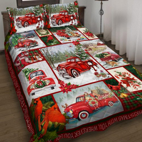 take a little christmas with you red truck bedding set 2
