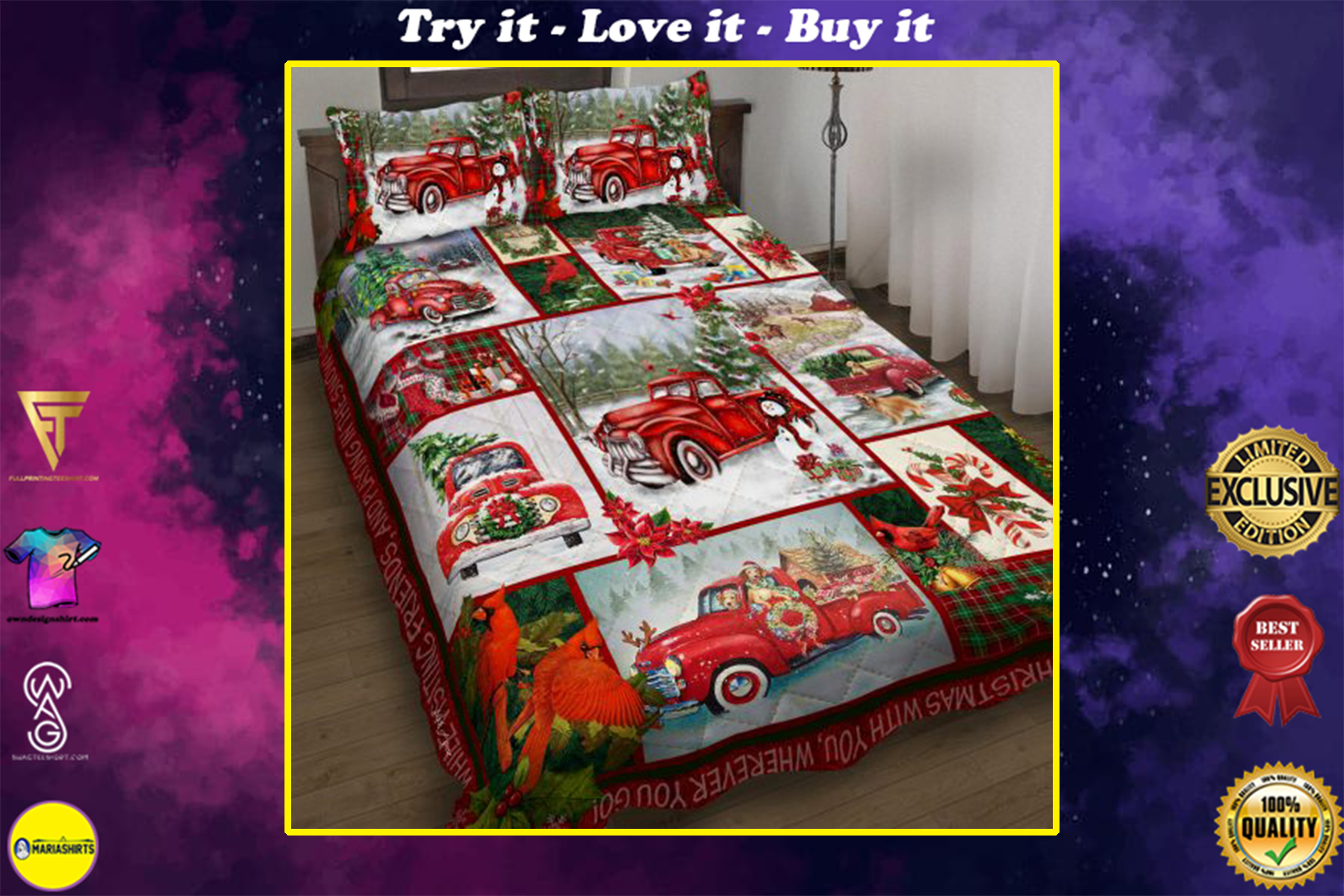 take a little christmas with you red truck bedding set