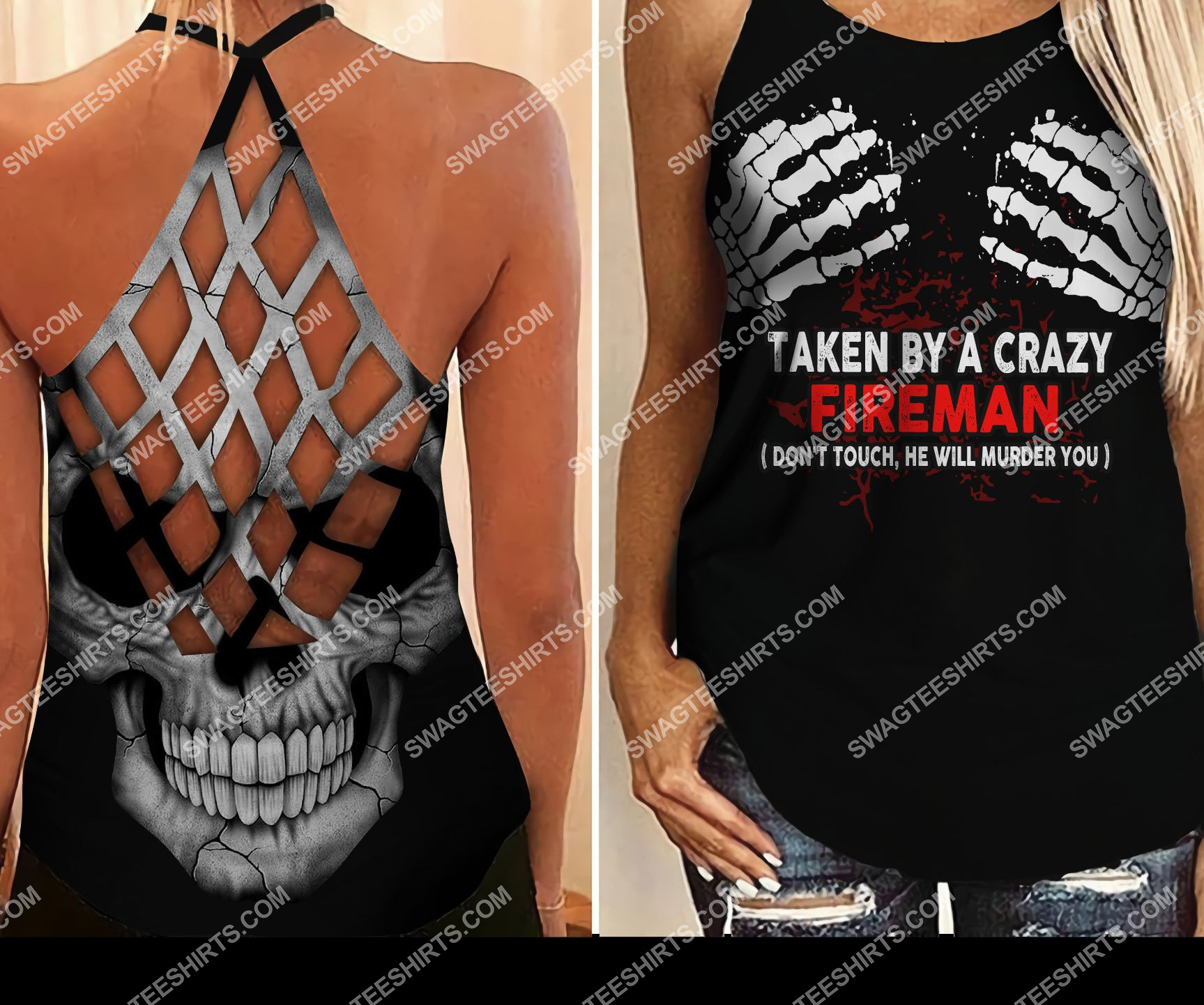 taken by a crazy fireman all over printed strappy back tank top 2