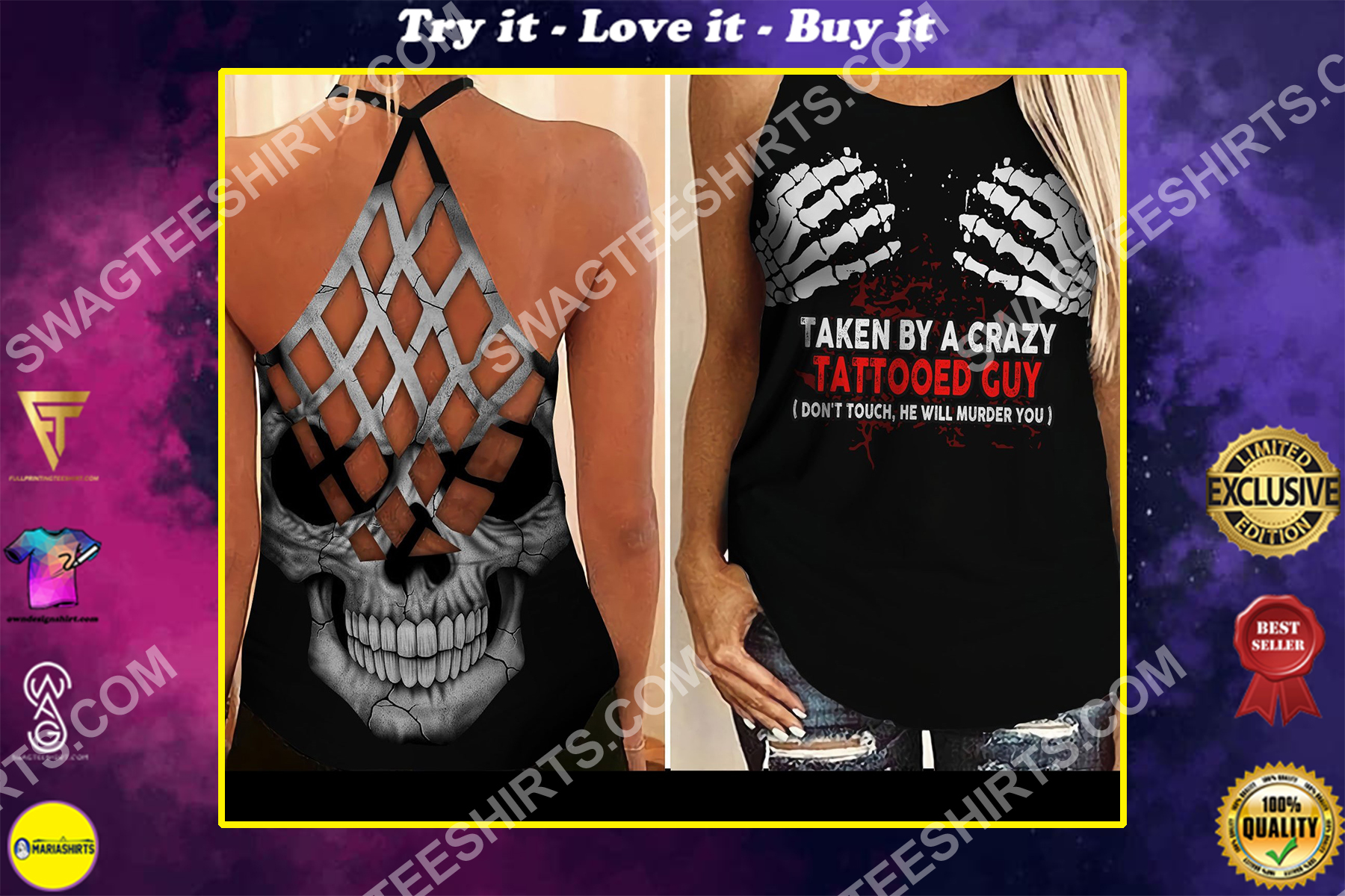taken by a crazy tattooed guy all over printed strappy back tank top