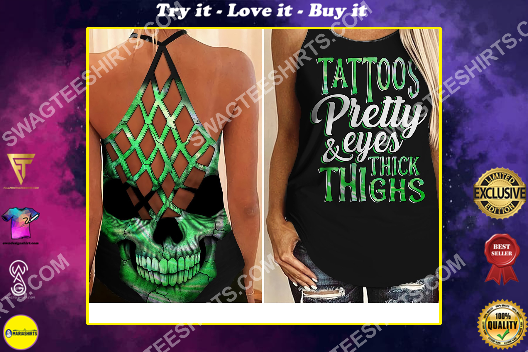tattoos pretty eyes thick thighs skull strappy back tank top