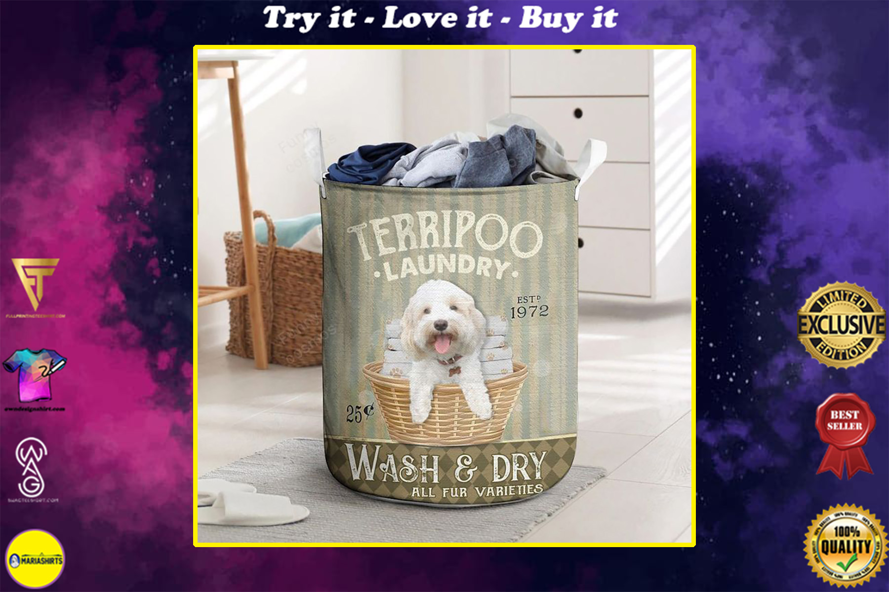 terri poo wash and dry all over printed laundry basket