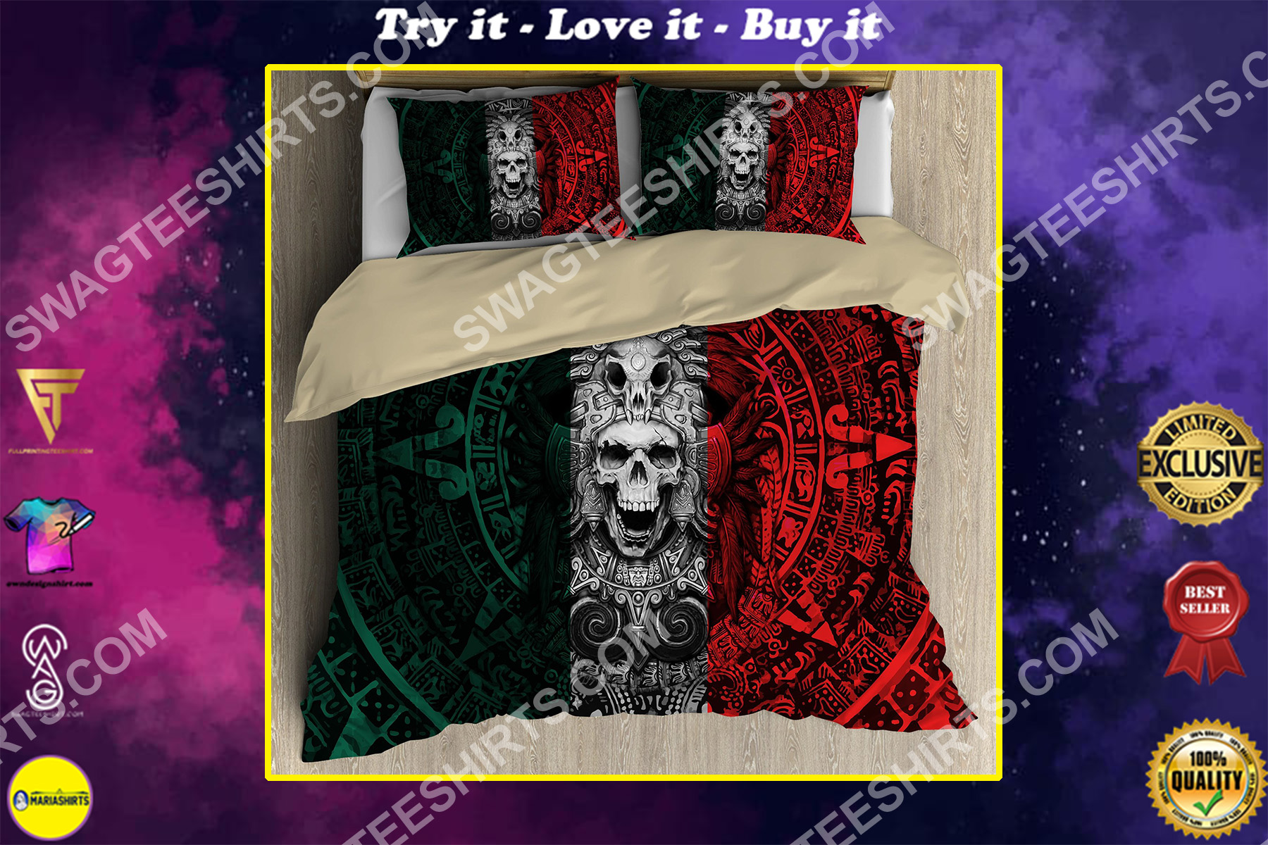 the aztec skull warrior mexico all over printed bedding set