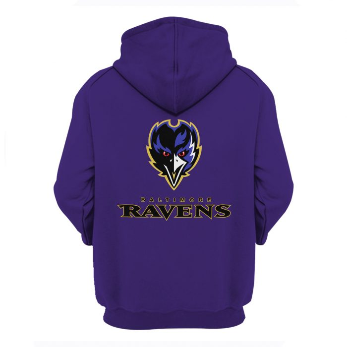 the baltimore ravens team full over printed hoodie - back
