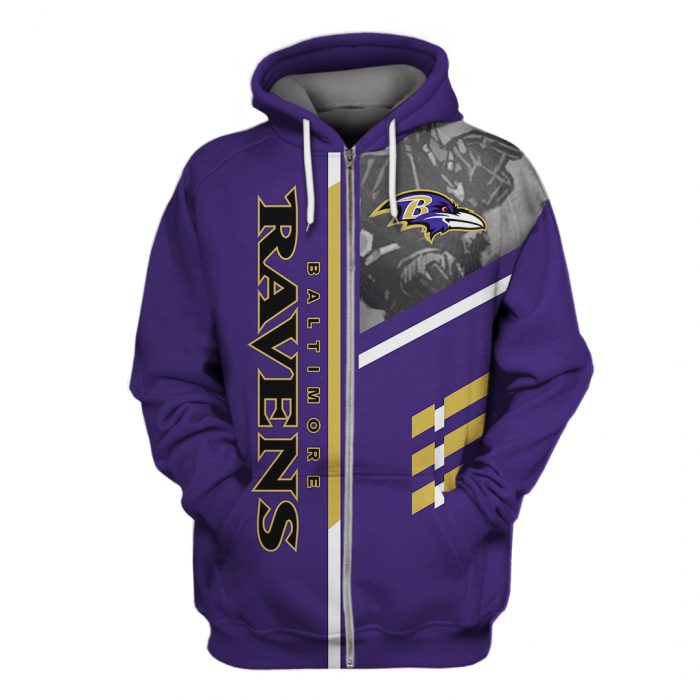 the baltimore ravens team full over printed zip hoodie