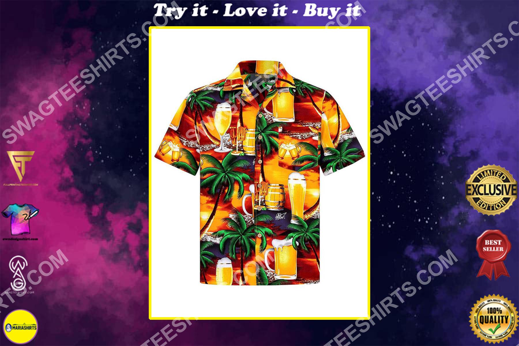 the beach and beer all over printed hawaiian shirt