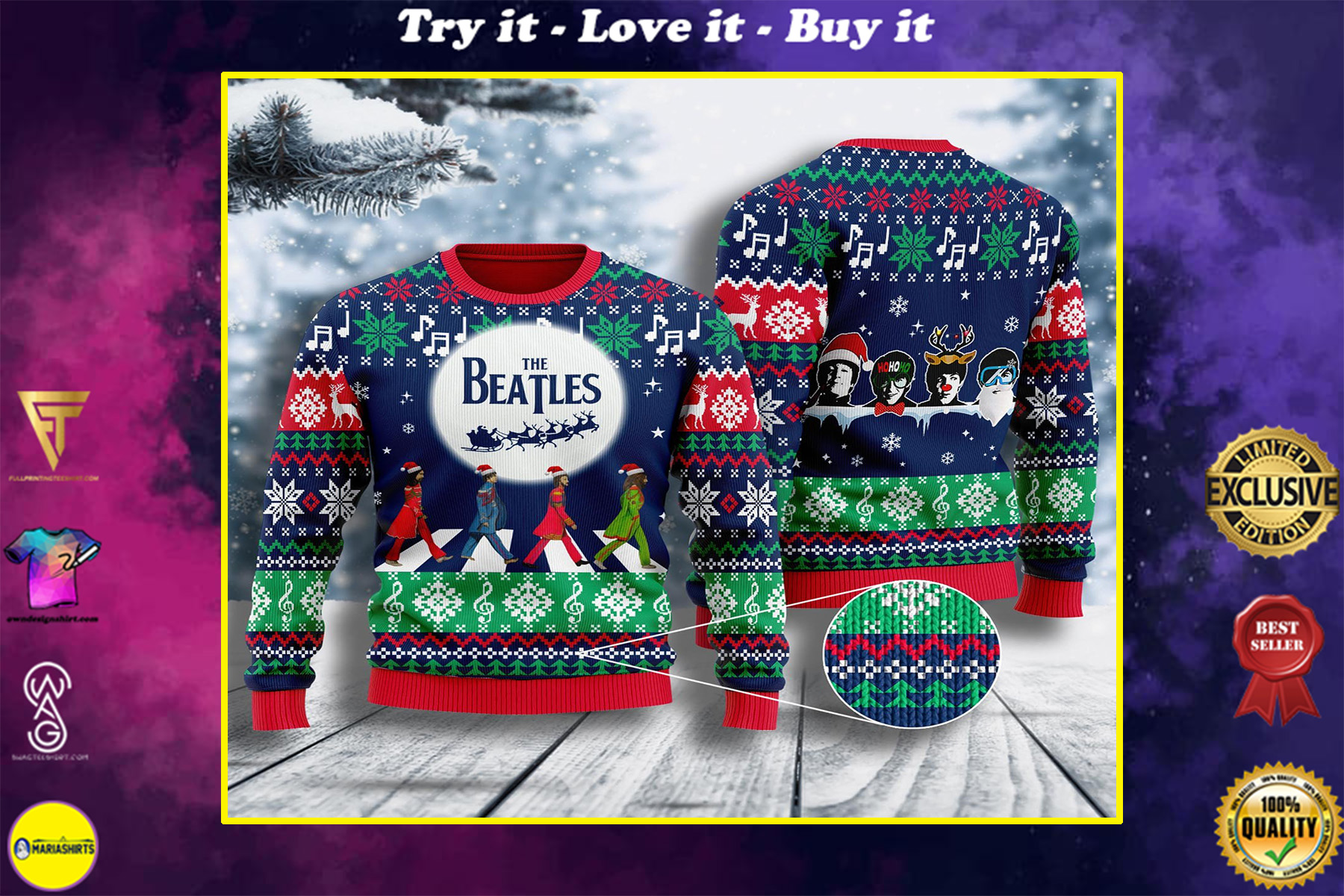 the beatles all over printed ugly christmas sweater