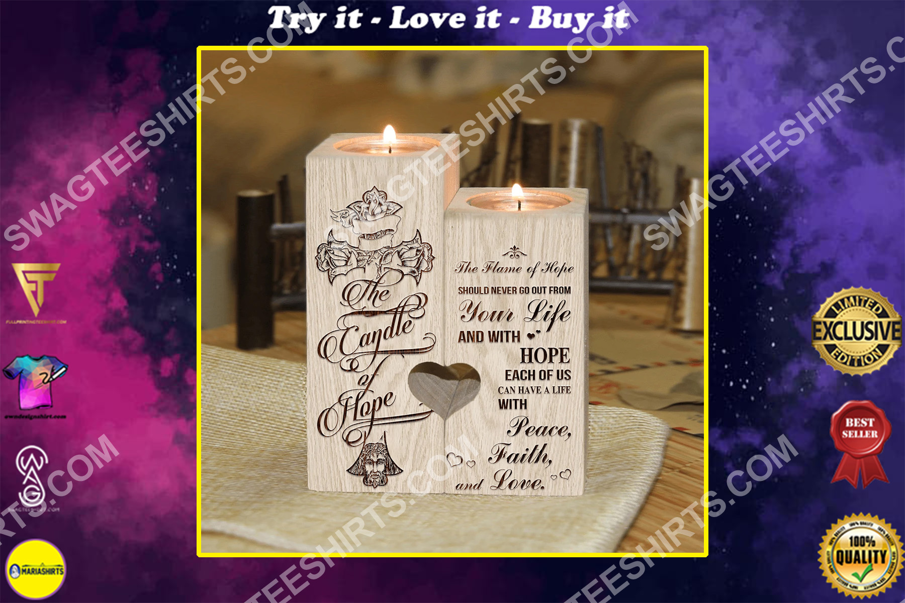 the cross the candle of hope peace faith love candle holder
