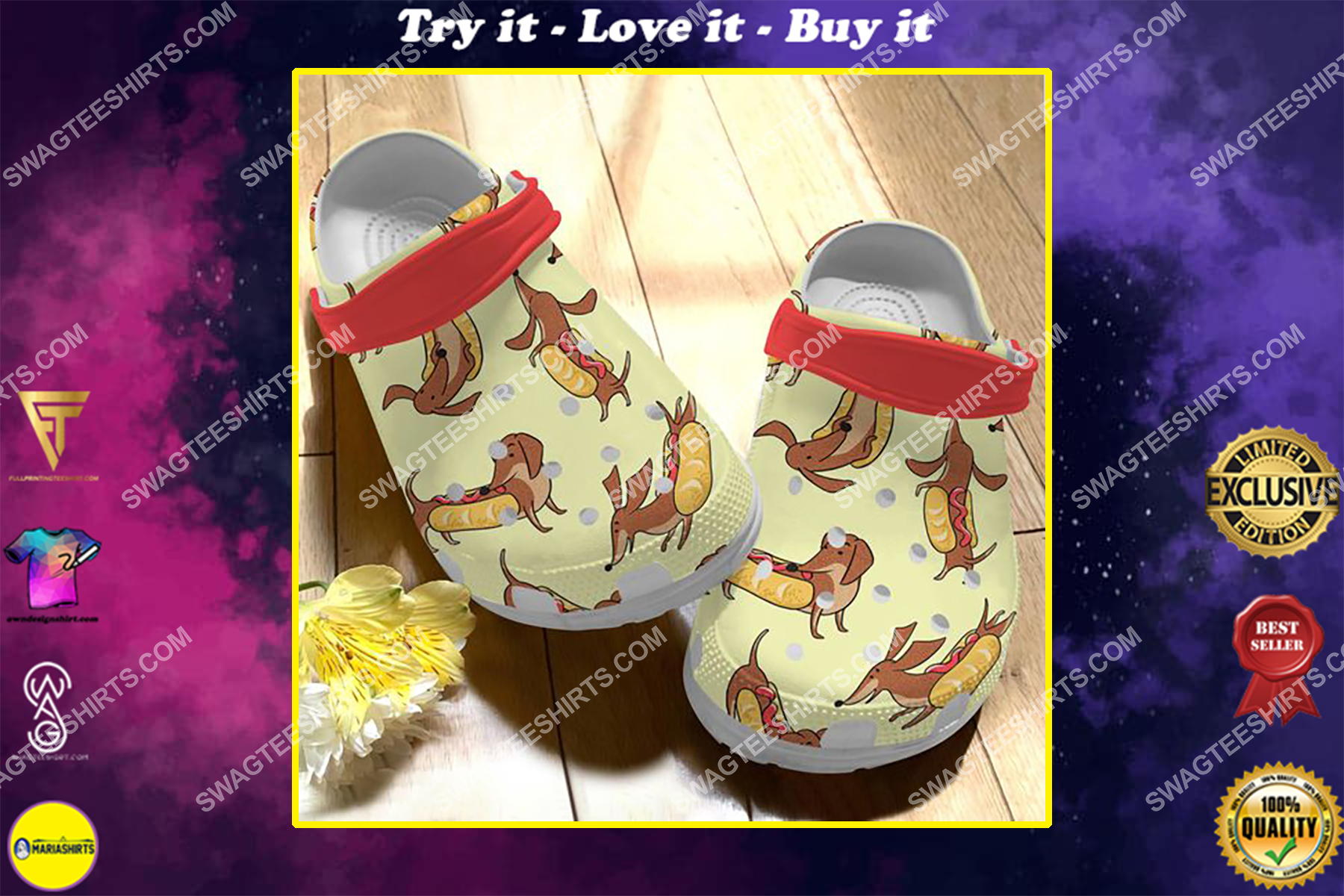 the dachshund and sausage all over printed crocs