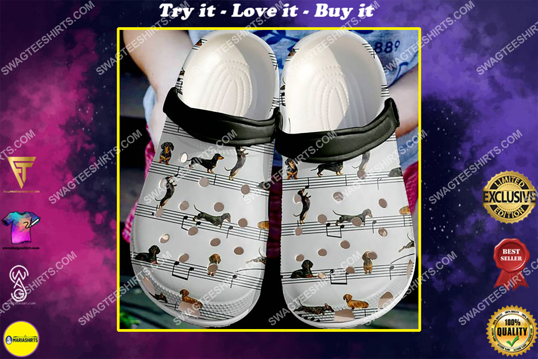 the dachshund dogs lover all over printed crocs